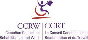 "This is an abstract image in red and blue of a person on a wheelchair holding a briefcase. Underneath is divided into two. Left side says ""Canadian Council for Rehabilitation and Work"" and CCRW"" in bigger writing above. Right side says the the same in French; ""La Conseil Canadian de la Readapatafion et du Travail"" with CCRT is bigger letters above. Click to arrive at this partner's page."