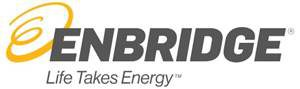 "Image contains a fancy yellow cursive letter ""E"" with the text ""Enbridge"" in italicized, all bold caps in grey. Underneath the text, Enbridge, is the text, ""Life Takes Energy"" in upper and lower case, grey italics."