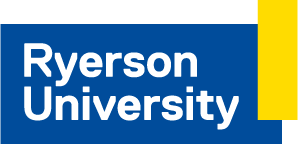 This image of a blue box, with white and yellow lining, with Ryerson University in white will take you to their page