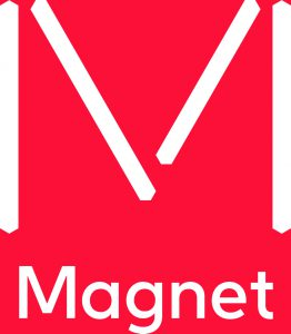 "Image of a big red box with white letter ""V"" scratched in, and the word Magnet in white will take you to their page if clicked."